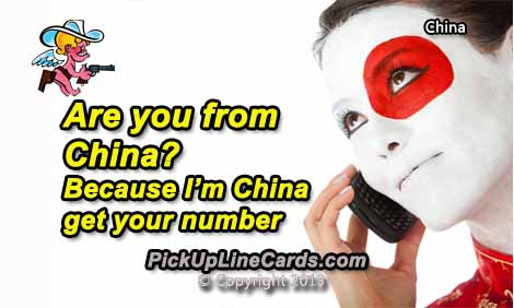 Chinese Pick Up Lines Pick Up Line Cards